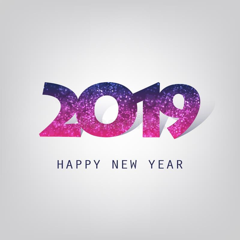 Cumprimentos - cartão do ano novo feliz do estilo, tampa ou fundo moderno abstrato roxo, molde criativo do projeto - 2019 ilustração royalty free