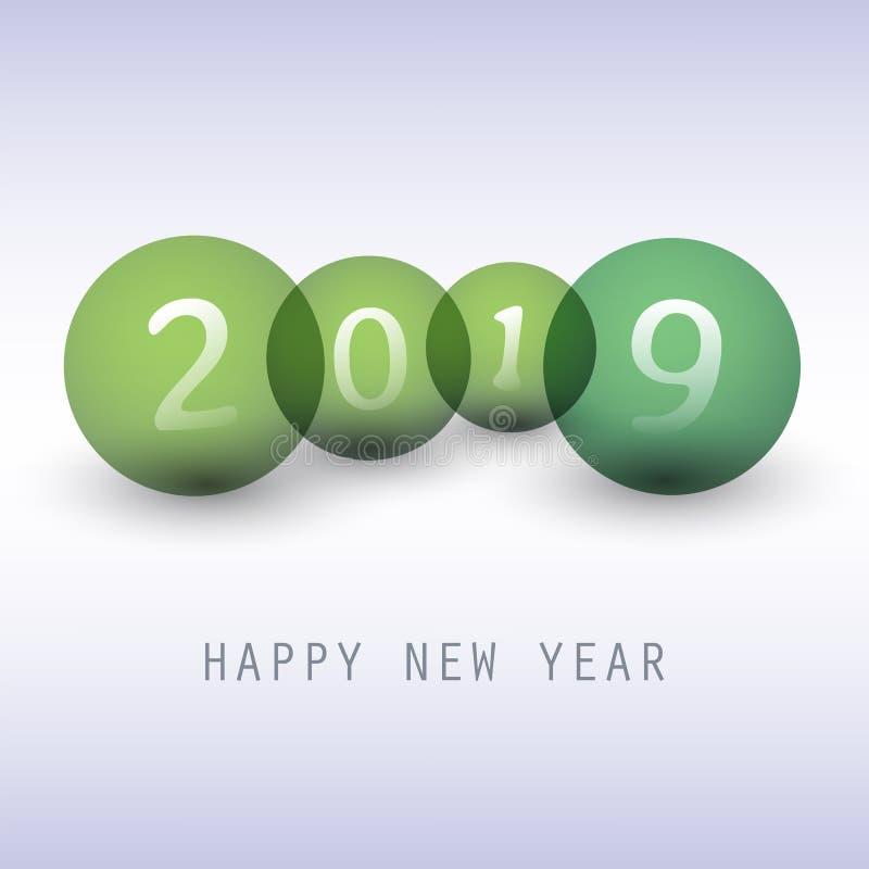 Cumprimentos - cartão do ano novo feliz do estilo, tampa ou fundo moderno abstrato verde, molde criativo do projeto - 2019 ilustração stock