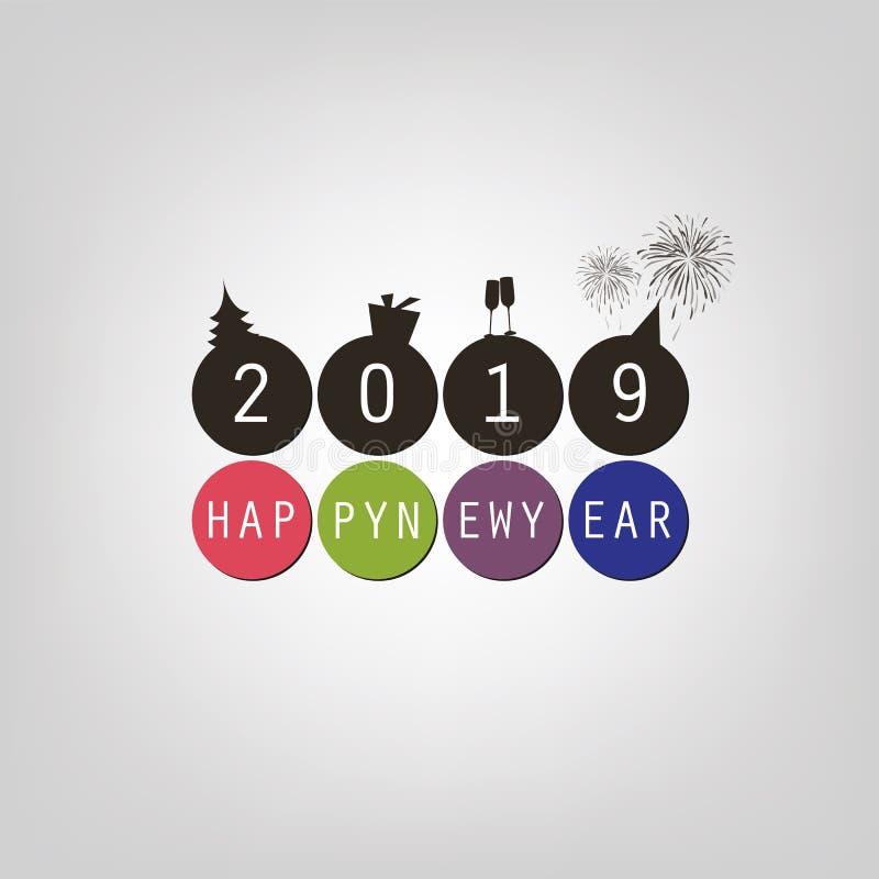 Cumprimentos - cartão do ano novo feliz ou molde mínimo simples moderno do fundo da tampa - 2019 ilustração do vetor