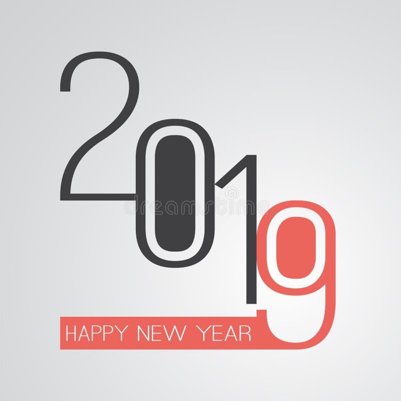 Cumprimentos - cartão retro do ano novo feliz do estilo ou fundo, molde criativo do projeto - 2019 ilustração royalty free