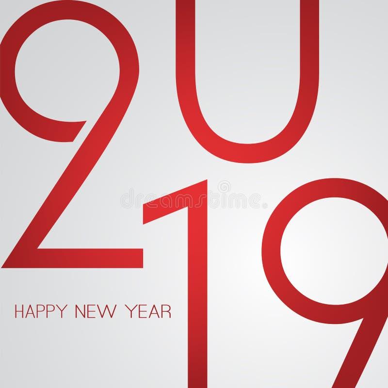 Cumprimentos - cartão retro do ano novo feliz do estilo ou fundo, molde criativo do projeto - 2019 ilustração do vetor