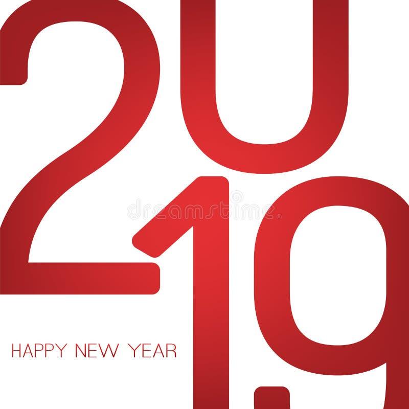 Cumprimentos - cartão retro do ano novo feliz do estilo ou fundo, molde criativo do projeto - 2019 ilustração stock