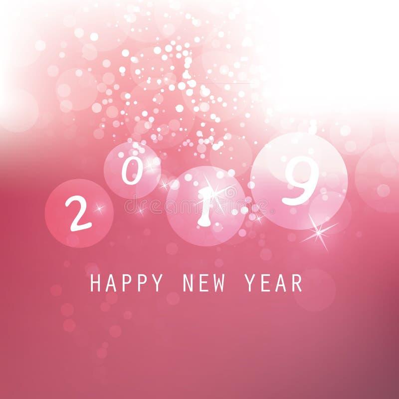 Cumprimentos - clarete e cartão do ano novo feliz do estilo, tampa ou fundo moderno abstrato branco, projeto criativo - 2019 ilustração stock