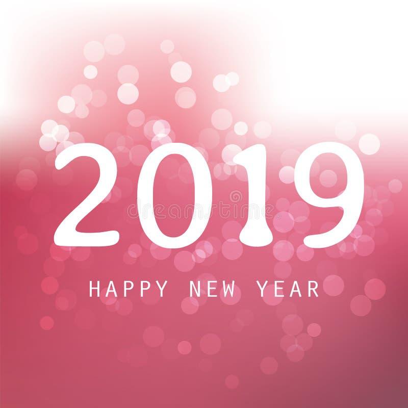 Cumprimentos - clarete e cartão do ano novo feliz do estilo, tampa ou fundo moderno abstrato branco, projeto criativo - 2019 ilustração do vetor