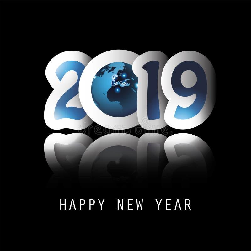 Cumprimentos - comemore o ano novo toda em todo o mundo - cartão ou projeto do fundo - 2019 ilustração royalty free