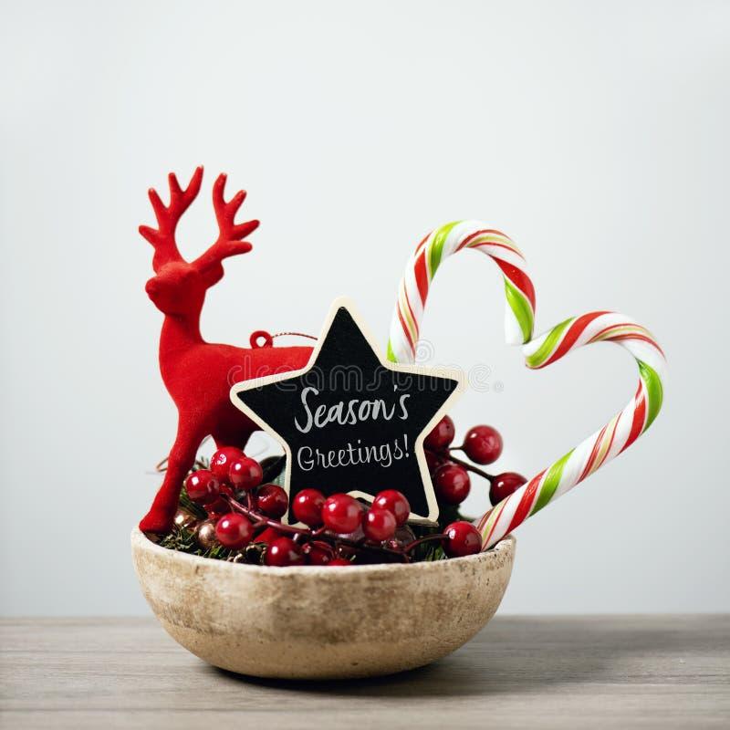 Cumprimentos das estações dos ornamento e do texto do Natal imagem de stock royalty free