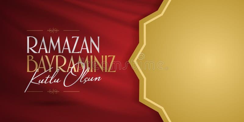 Cumprimentos de Eid al-Fitr Mubarak Islamic Feast turcos: Mês de Ramazan Bayraminiz Kutlu Olsun Holy da comunidade muçulmana Rama ilustração royalty free