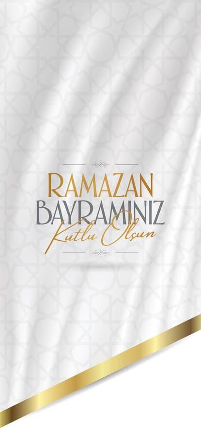 Cumprimentos de Eid al-Fitr Mubarak Islamic Feast turcos: M?s de Ramazan Bayraminiz Kutlu Olsun Holy da comunidade mu?ulmana Rama ilustração stock