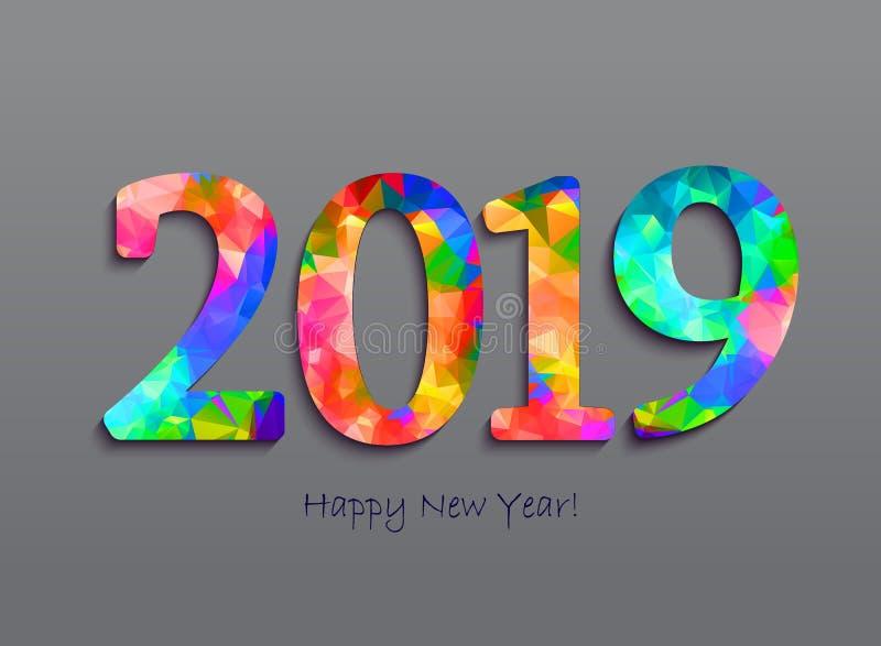 2019 cumprimentos de um ano novo feliz Congratula de comemoração abstrato ilustração do vetor