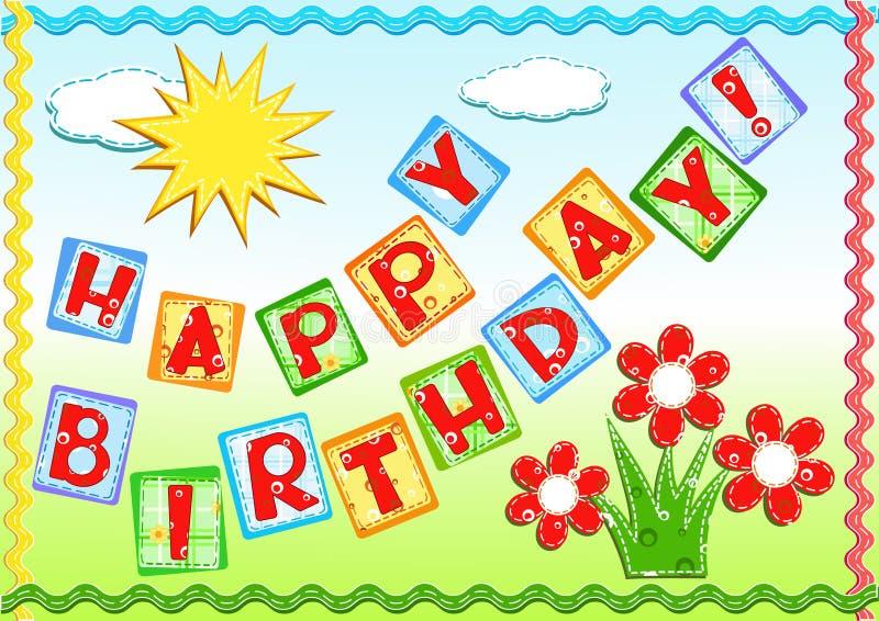 Cumprimentos do aniversário. ilustração do vetor