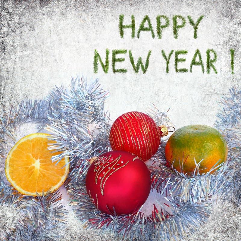 Cumprimentos do ano novo feliz imagens de stock