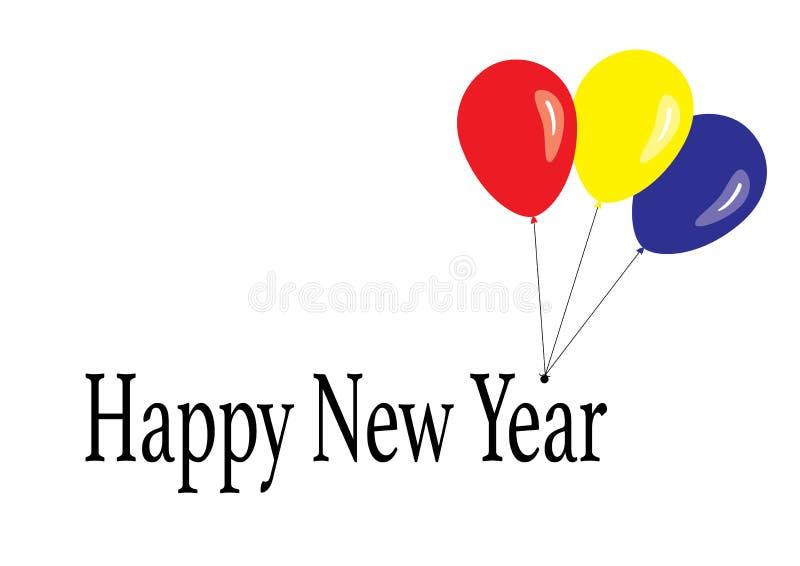 Cumprimentos do ano novo feliz com três balões fotografia de stock royalty free