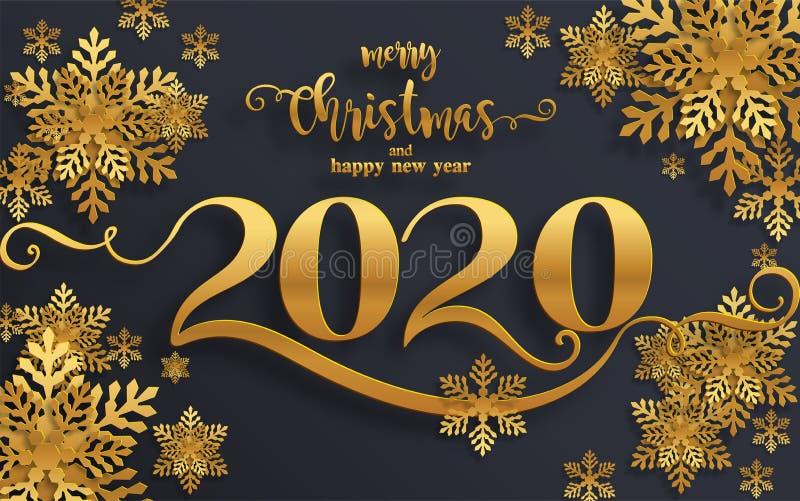 Cumprimentos do Feliz Natal e ano novo feliz 2020 ilustração do vetor