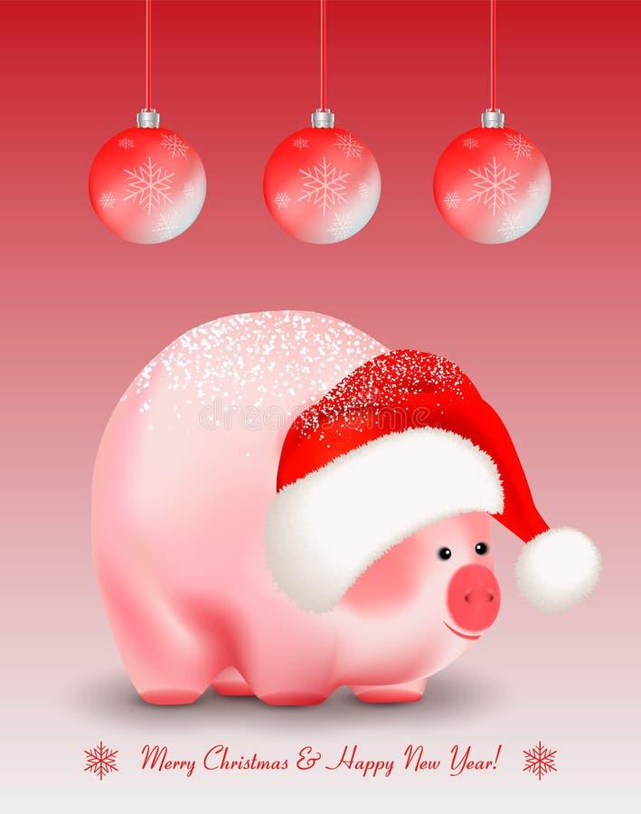Cumprimentos do feriado de inverno Quinquilharias vermelhas do Natal ou do ano novo com flocos de neve e o porco bonito um símbol ilustração royalty free
