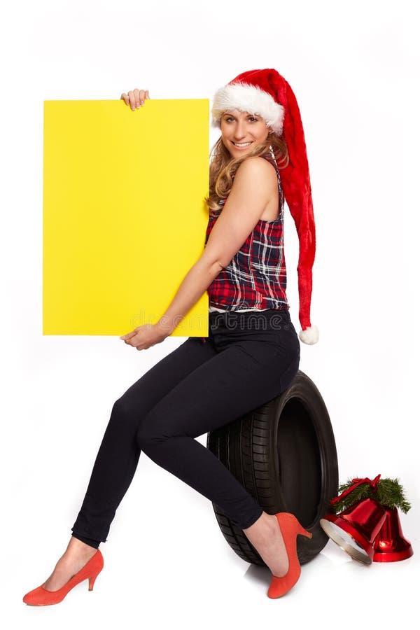 Cumprimentos do Natal para o comércio do pneu imagens de stock
