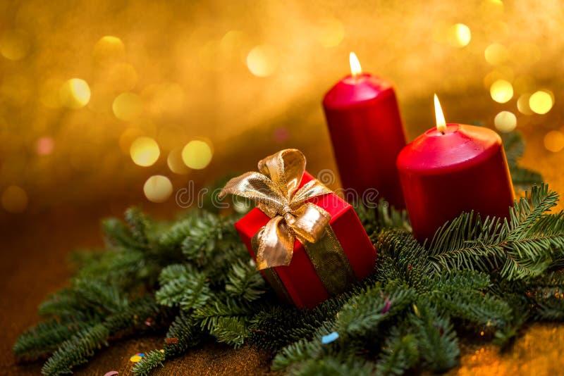 Cumprimentos do ` s do ano novo Decorações do Natal imagens de stock royalty free