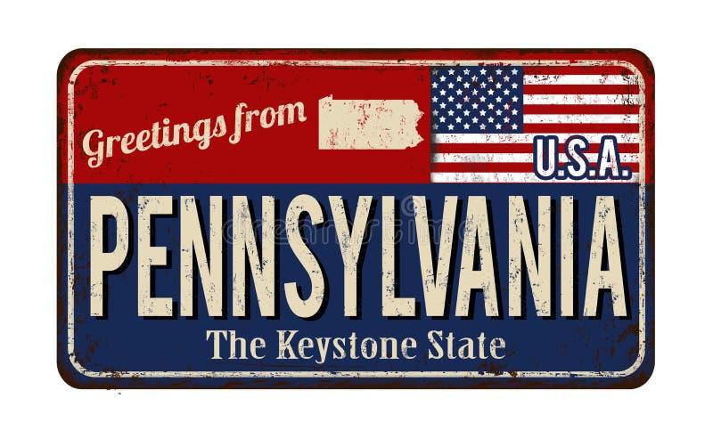 Cumprimentos do sinal oxidado do metal do vintage de Pensilvânia ilustração royalty free