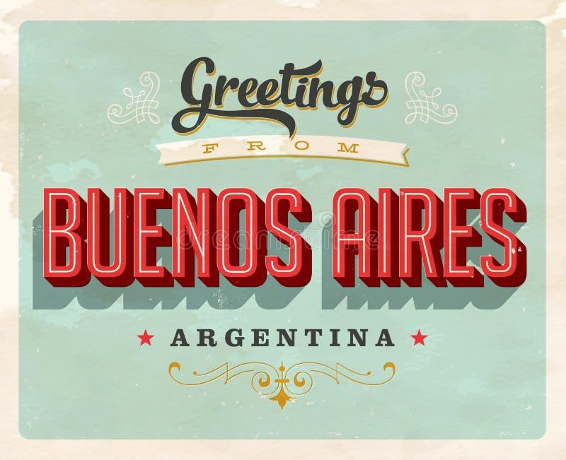 Cumprimentos do vintage cartão de férias de Buenos Aires, Argentina ilustração royalty free