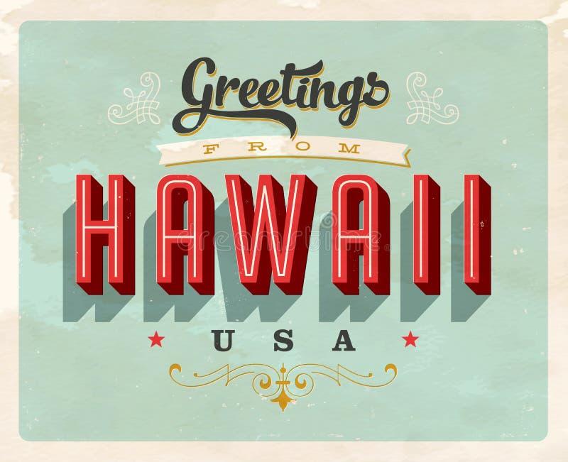 Cumprimentos do vintage do cartão de férias de Havaí ilustração do vetor