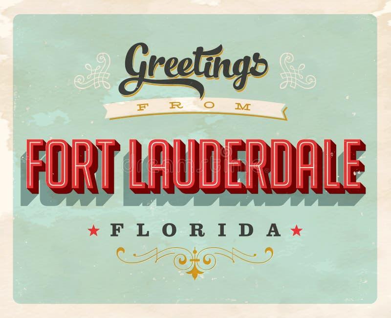 Cumprimentos do vintage do cartão de férias do Fort Lauderdale ilustração stock
