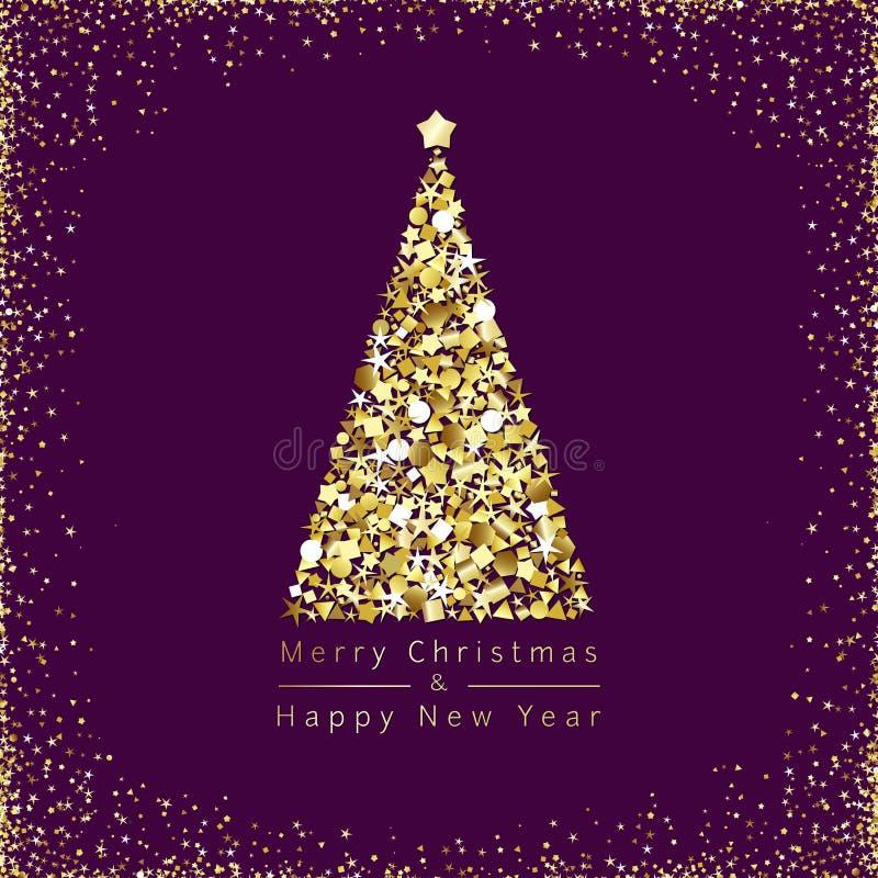 Cumprimentos dourados do Feliz Natal ilustração royalty free