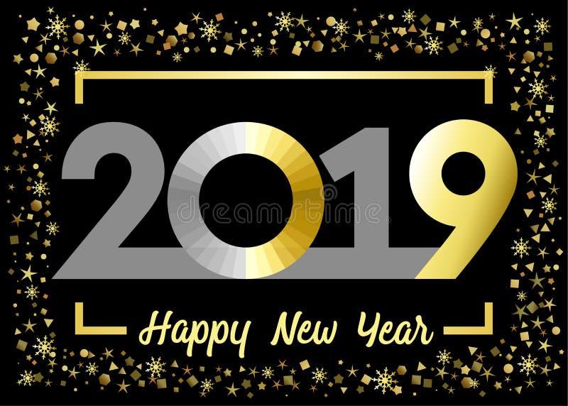 2019 cumprimentos dourados do xmas do ano novo feliz do brilho ilustração royalty free