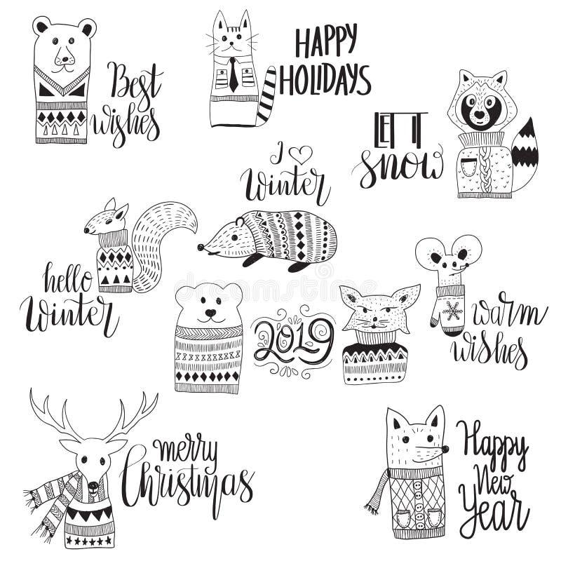 Cumprimentos engraçados do feriado de inverno do Natal da sagacidade dos animais do vetor ilustração stock