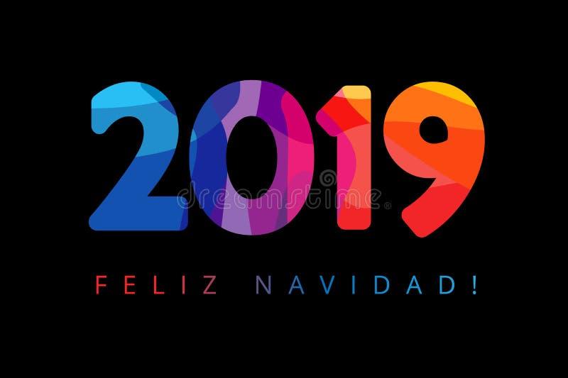 2019, cumprimentos espanhóis do xmas de Feliz Navidad, traduzem: Feliz Natal Fundo do preto do ano novo feliz dos feriados, color ilustração do vetor