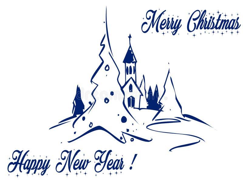 Cumprimentos: Igreja do Natal na montanha, no amor e na paz com presentes fotografia de stock royalty free