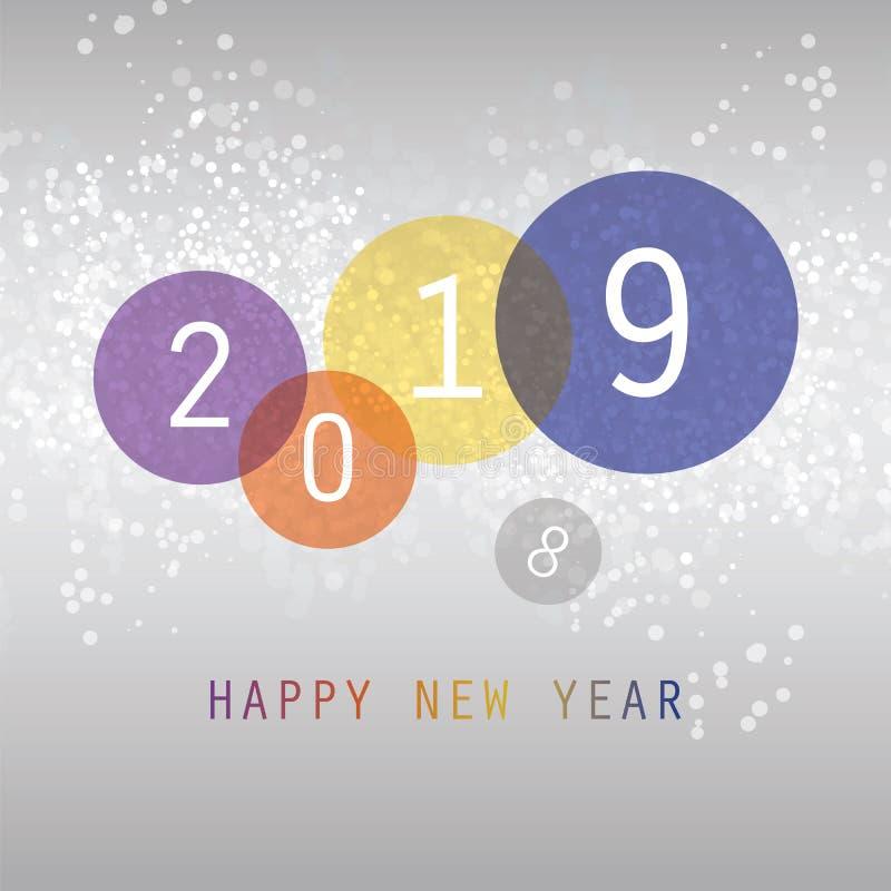 Cumprimentos - molde colorido simples do projeto do cartão, da tampa ou do fundo do ano novo - 2019 ilustração stock
