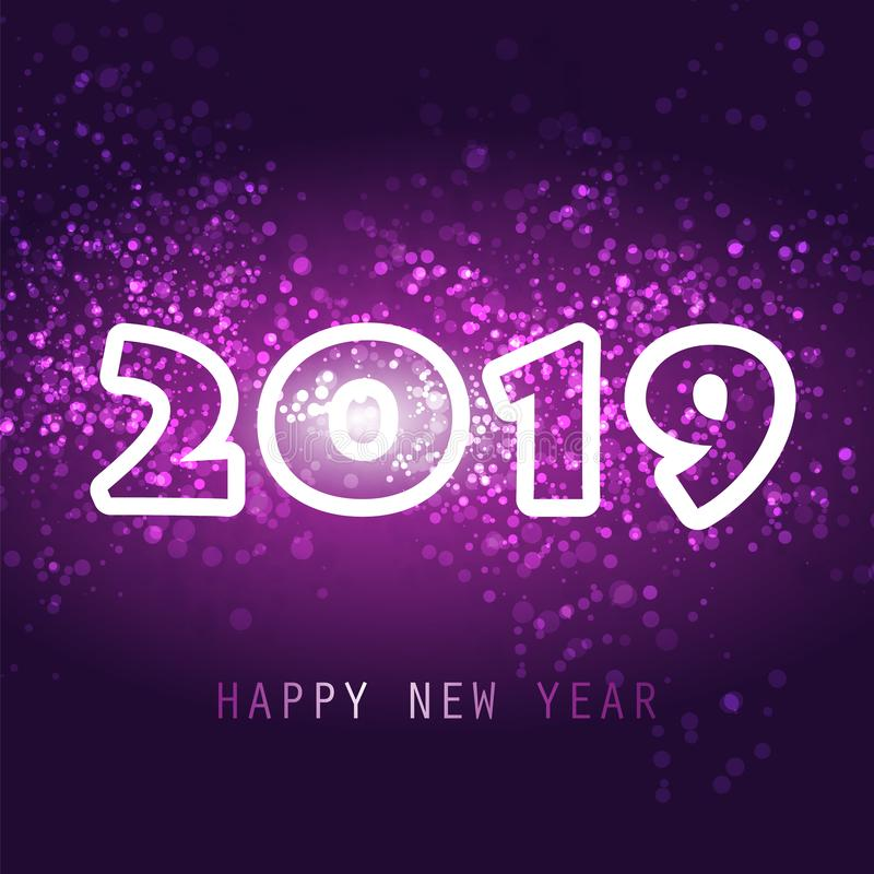 Cumprimentos - molde do cartão, da tampa ou do fundo do ano novo - 2019 ilustração royalty free