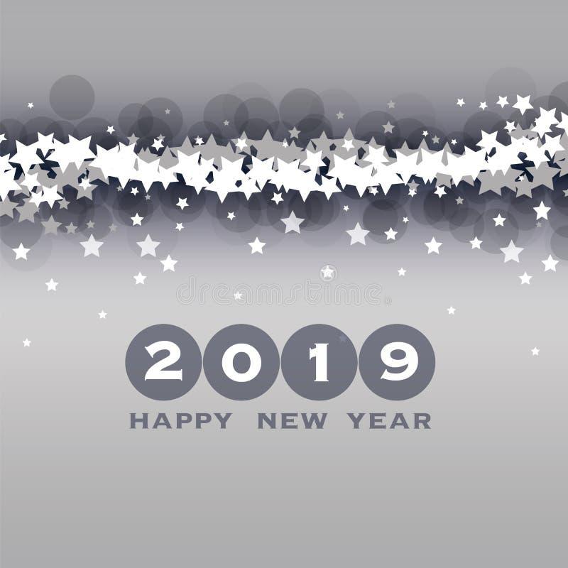 Cumprimentos - molde do projeto do cartão, da tampa ou do fundo do ano novo - 2019 ilustração stock