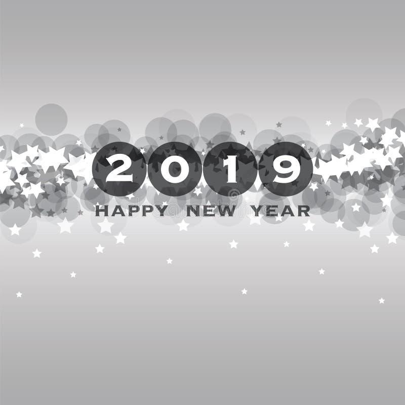 Cumprimentos - molde do projeto do cartão, da tampa ou do fundo do ano novo - 2019 ilustração royalty free