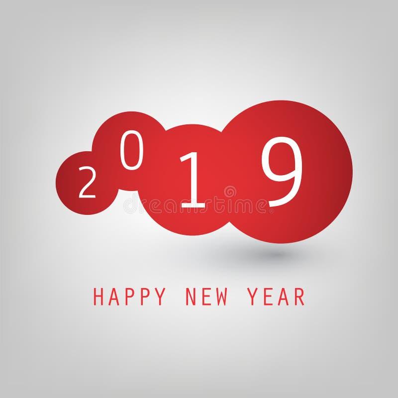 Cumprimentos - vermelho e molde simples do projeto de Grey New Year Card, da tampa ou do fundo com numerais - 2019 ilustração do vetor