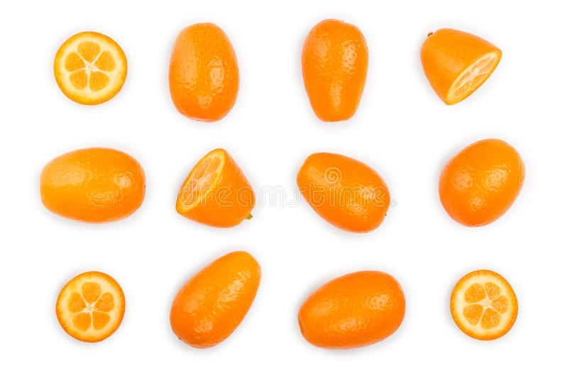 Cumquat or kumquat with half isolated on white background. Top view. Flat lay. Set or collection. Cumquat or kumquat with half isolated on white background close royalty free stock photography