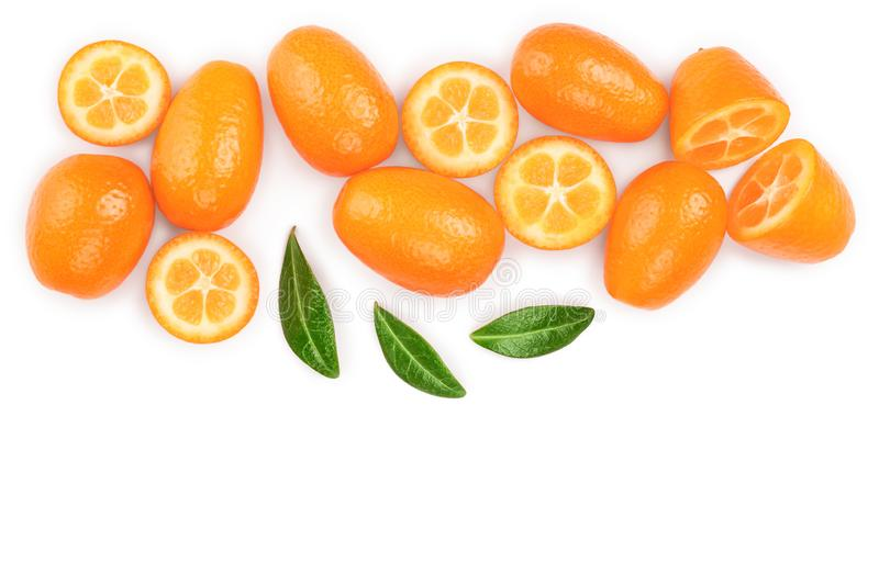 Cumquat or kumquat with half isolated on white background with copy space for your text. Top view. Flat lay.  stock photos