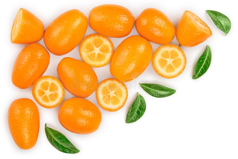 Cumquat or kumquat with half isolated on white background with copy space for your text. Top view. Flat lay.  stock images