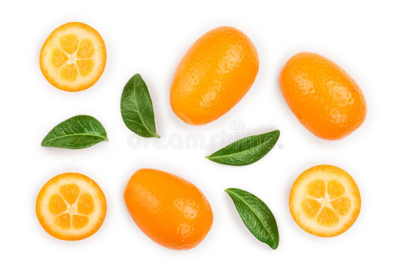 Cumquat or kumquat with half isolated on white background. Top view. Flat lay.  stock photos
