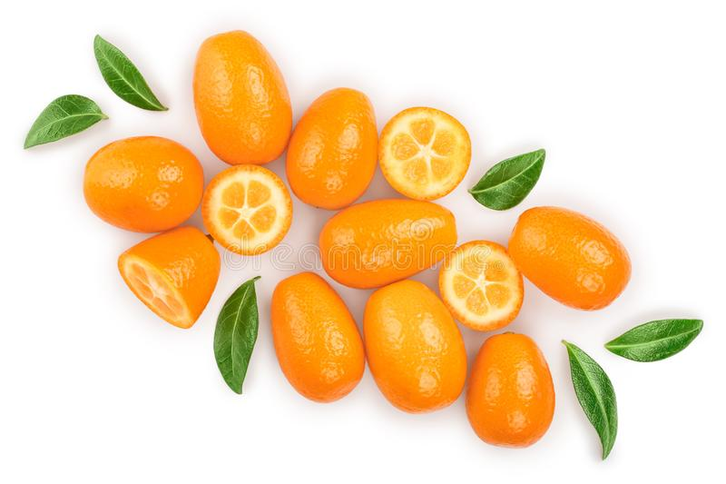 Cumquat or kumquat with half isolated on white background. Top view. Flat lay.  stock photography