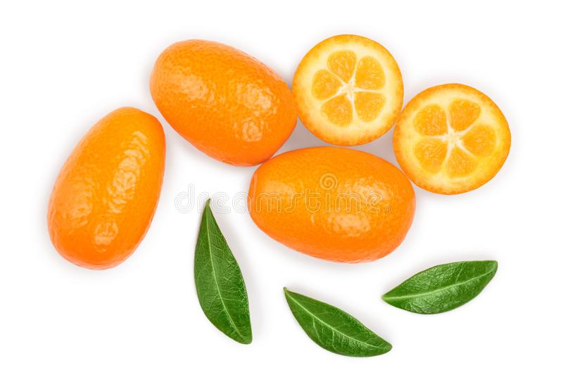 Cumquat or kumquat with half isolated on white background. Top view. Flat lay.  stock image