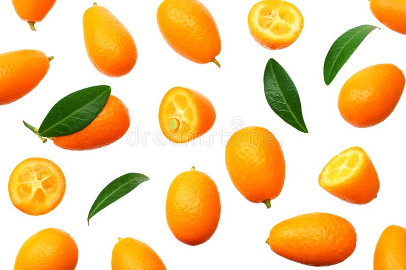 Cumquat or kumquat with leaves isolated on white background. top view stock image