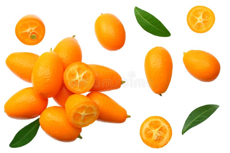 Cumquat or kumquat with leaves isolated on white background. top view stock photography