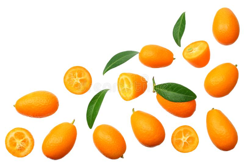 Cumquat or kumquat with leaves isolated on white background. top view royalty free stock images