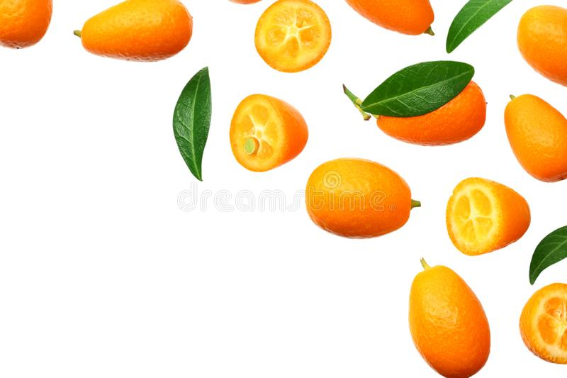 Cumquat or kumquat with leaves isolated on white background. top view stock photo