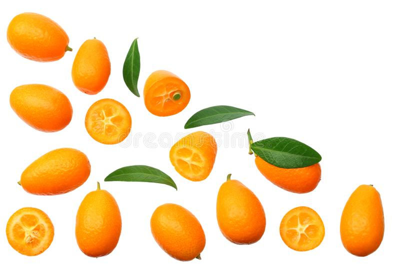 Cumquat or kumquat with leaves isolated on white background. top view royalty free stock photo