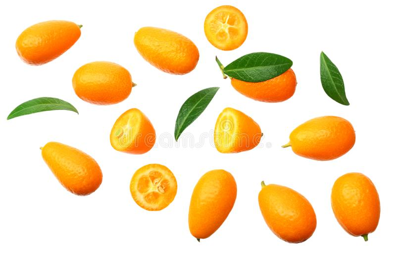 Cumquat or kumquat with leaves isolated on white background. top view royalty free stock photos