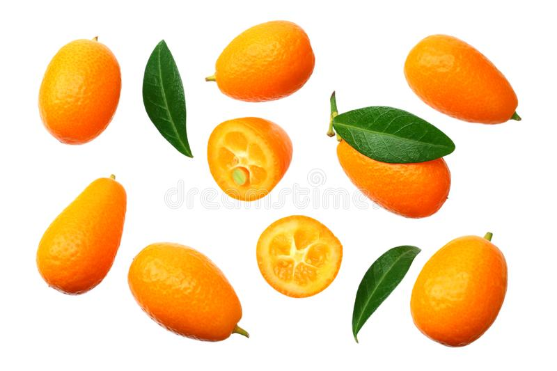 Cumquat or kumquat with leaves isolated on white background. top view royalty free stock photography