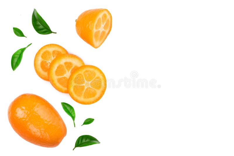 Cumquat or kumquat with slices isolated on white background with copy space for your text. Top view. Flat lay.  stock photos