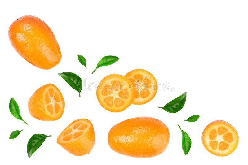 Cumquat or kumquat with slices isolated on white background with copy space for your text. Top view. Flat lay.  stock image