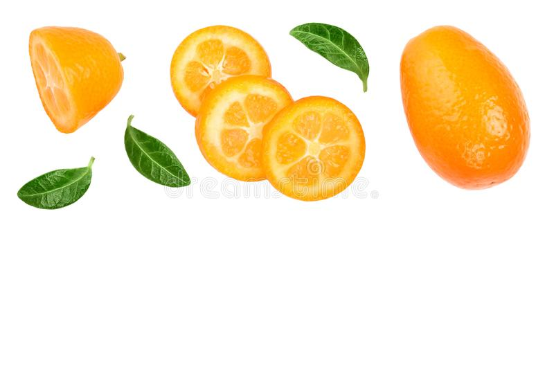 Cumquat or kumquat with slices isolated on white background with copy space for your text. Top view. Flat lay.  royalty free stock photos